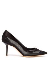 mesh,pumps,black,satin,shoes
