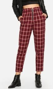 pants,girly,girly wishlist,gigi hadid,red,plaid,plaid pants,zip,zipped pants,high waisted
