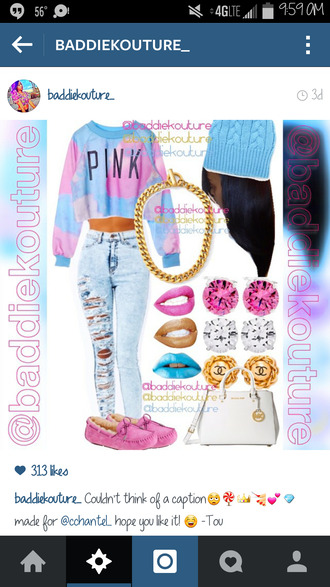 cotton candy outfit outfit ideas outfit idea blaaaze baddiekouture_ jewels bag jeans