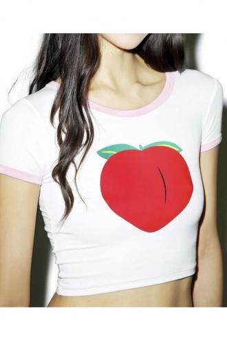 top girl girly girly wishlist crop crop tops cropped peach white t-shirt