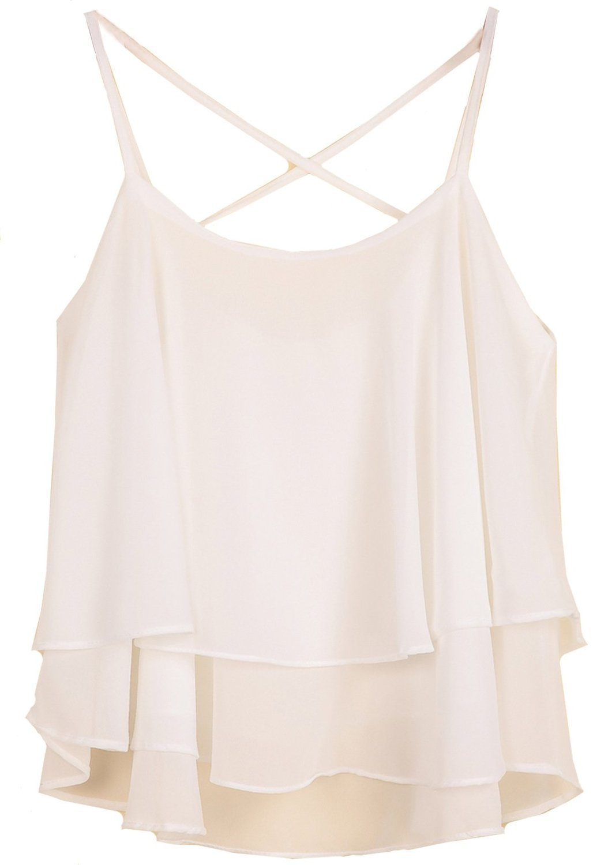 Sheinside® Women's White Spaghetti Strap Double Layers Chiffon Vest (One Size, White) at Amazon Women's Clothing store: