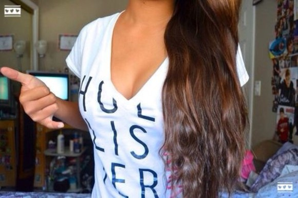 black deep v neck shirt white hollister hollister california v-neck black letters