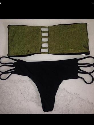 swimwear green black metallic bikini metallic green shiny glitter cut-out cut-out swimwear