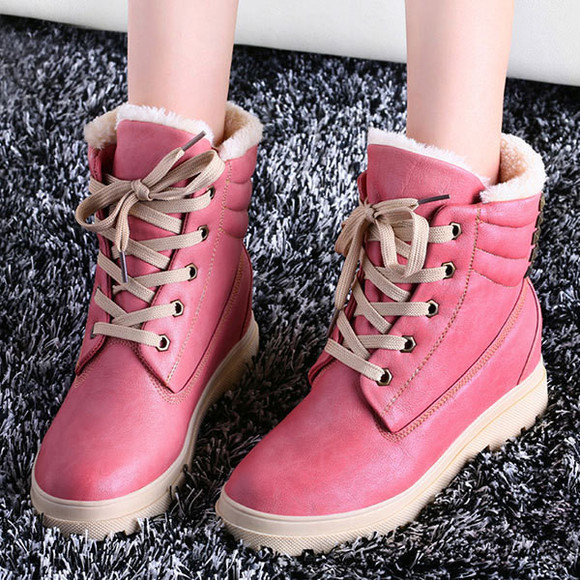 shoes boot rivet candy color lace up