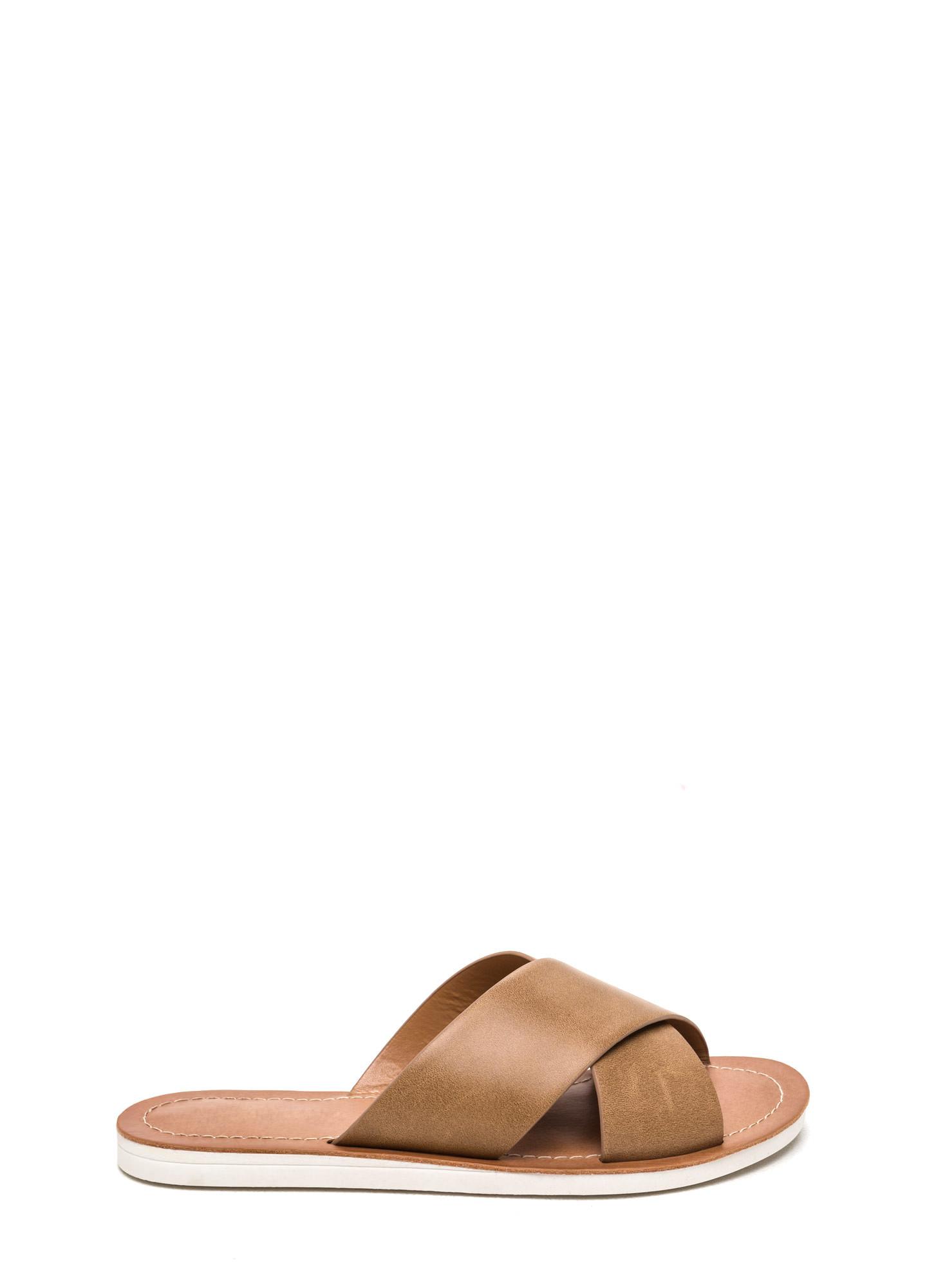 11e2d83609d5 X Marks The Spot Slide Sandals CAMEL TAN BLACK - GoJane.com