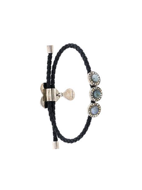 heart metal women charm bracelet leather black jewels