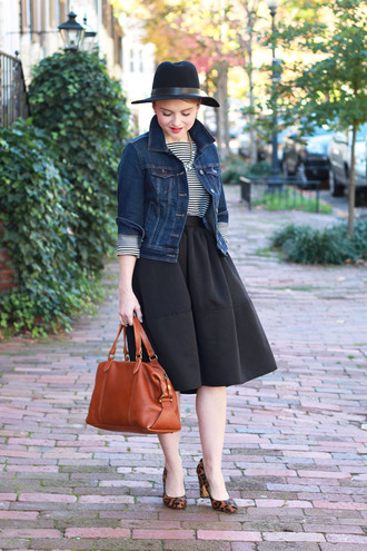 poor little it girl blogger top jacket jewels midi skirt stripes leather bag hat skirt shoes