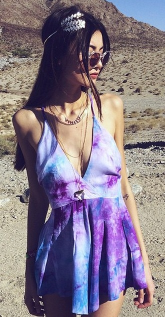 dress tye dye mini dress blue purple halter dress coachella hippie bohemian bohemian dress tunic flowy flowy dress a-line dresses colorful printed dress
