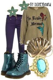 sweater,mermaid,the little mermaid,disney,cute,shoes,pants,jewels,bag
