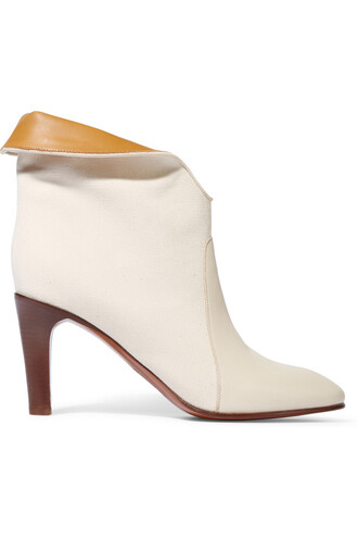 boots ankle boots leather white off-white shoes