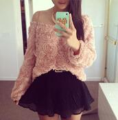 sweater,cute,floral,sweet,belt,skirt,jewels,blouse,mini skirt,flowers,crop tops,sexy,summer outfits,sun,smartphone,green,gold,black,pink
