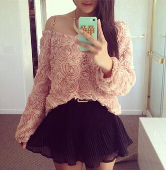 sweater cute floral sweet belt skirt jewels blouse mini skirt flowers crop tops sexy summer outfits sun smartphone green gold black pink