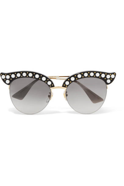 gucci embellished sunglasses gold black
