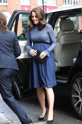 dress maternity maternity dress midi dress navy navy dress pumps long sleeve dress kate middleton