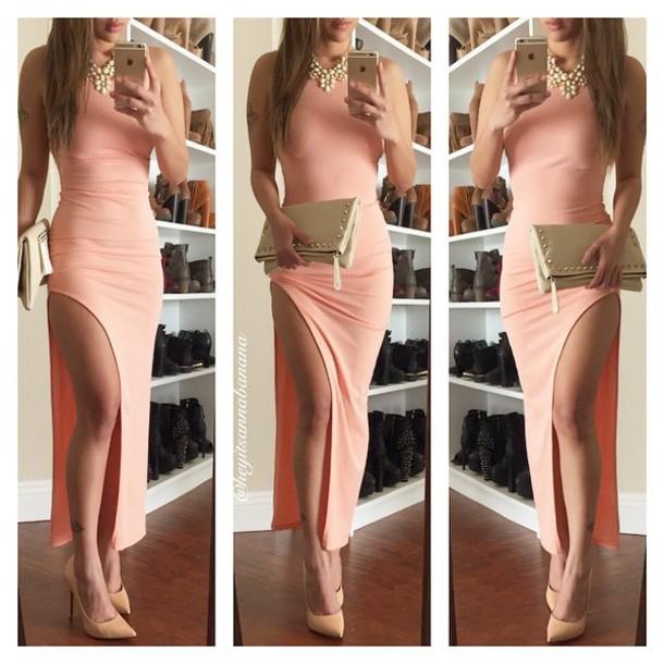 dress pink dress peach open foot no sleeve peach dress