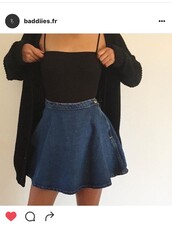 skirt,denim skirt,top,denim,button,cami,black,straps,cardigan,jumper,sweater,shirt,tank top,a line,cute,cute outfits,skater skirt,pencil skirt