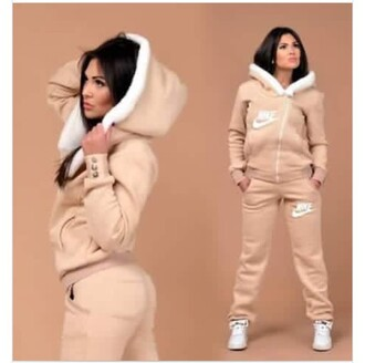 jumpsuit nike jumpsuit nike tracksuit nike sweater tracksuit pants warm jacket tan fur romper outfit peach cute love nike track suit women niki light tan sweat suite women cozy sweatpants nude nike sportswear nike hoodie hoodie sportswear comfy nike sweatpants brown nike tan white