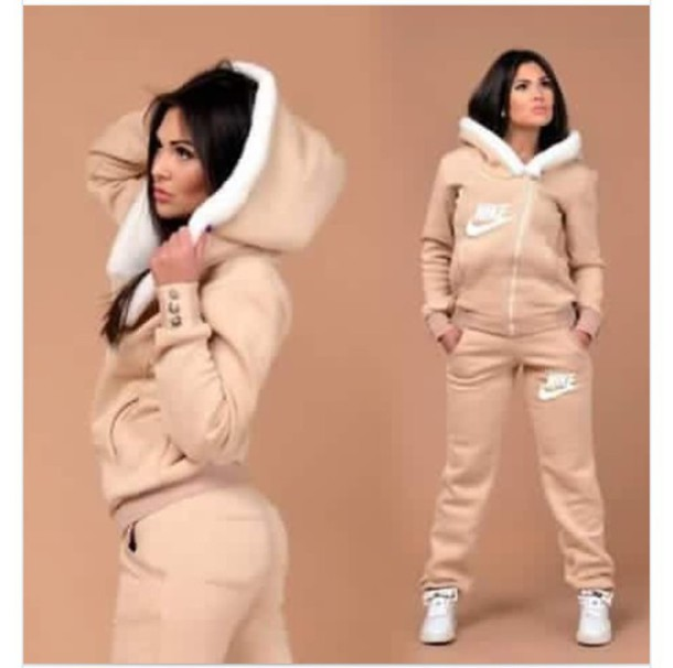 pretty nice b7f76 d962a jumpsuit nike jumpsuit nike tracksuit nike sweater tracksuit pants warm  jacket tan fur romper outfit peach