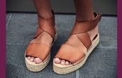 shoes,tan leather wedge espadrilles