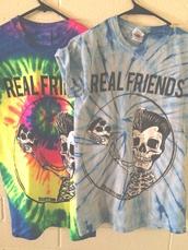 t-shirt,band merch,colorful,scull,grunge,band t-shirt,purple,green,yellow,grey,blue,pizza,shirt,tie dye,multi coloured,real friends,pop punk,band,tie dye shirt