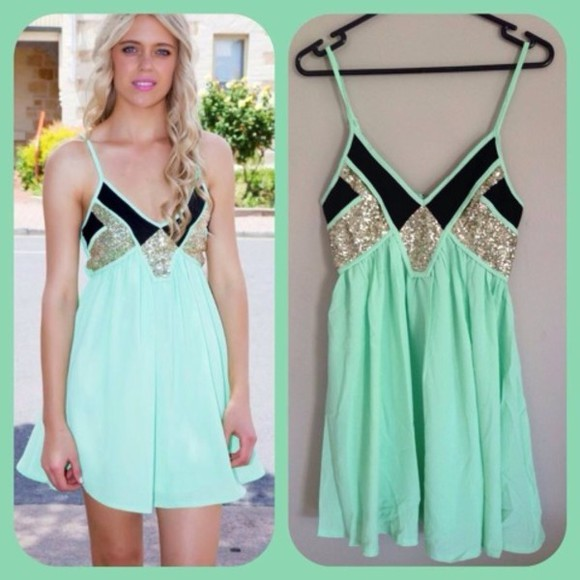 mint dress black glitter pretty