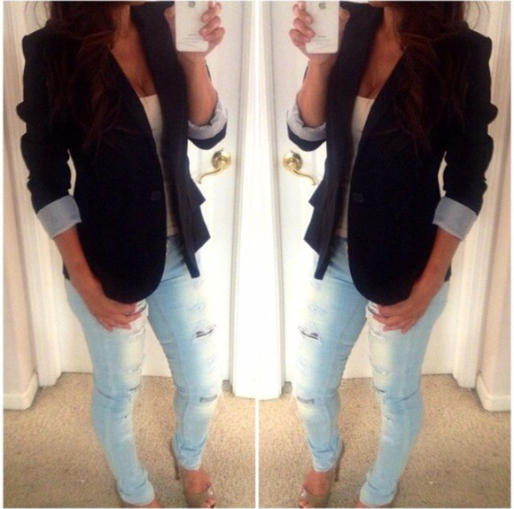 blue shirt style jacket blouse jeans denim jacket blazer boyfriend jeans boyfriend jacket style&pleasure
