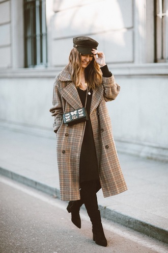 coat plaid coat black boots plaid black dress dress midi dress boots hat fisherman cap