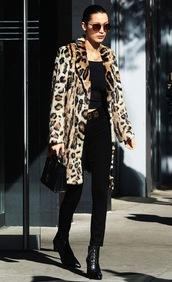 lefashion,blogger,coat,bag,belt,jeans,animal print,winter outfits,moschino belt,handbag