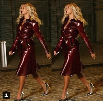 coat beyonce trench coat leather coat holidays music music video 2013 leather jacket burgundy gold oxblood