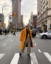 pants,plaid,black shoes,oxfords,yellow coat,black blazer,yellow top,streetwear