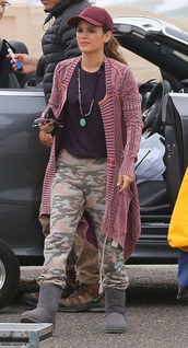 cardigan,pants,camouflage,top,cap,rachel bilson,celebrity
