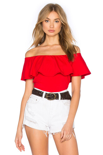 top ruffle red
