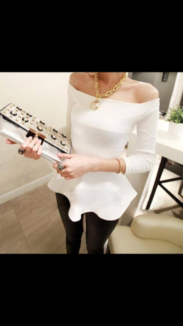 shirt white off the shoulder peplum white top peplum