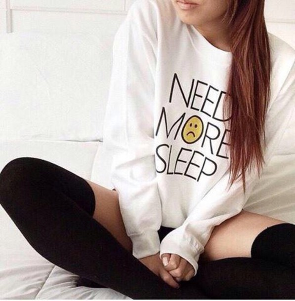 style sweater winter sweater fashion need more sleep white sweater knee high socks shirt white top perfect