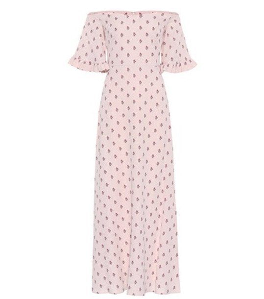 Valentino Floral-printed silk dress in pink
