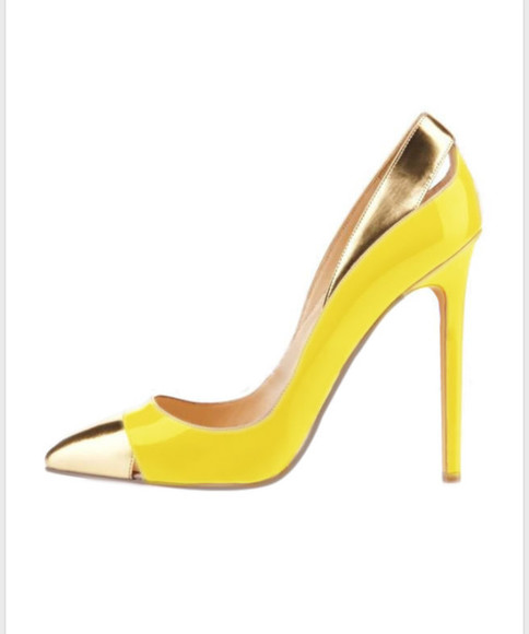 shoes yellow high heels pumps gold