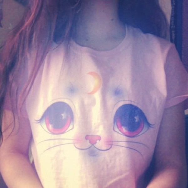 t-shirt cats moon pink