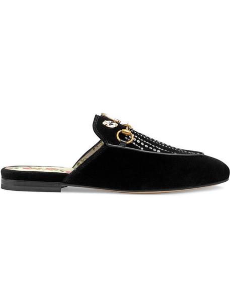 gucci metal women leather black velvet shoes