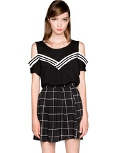 top,varsity top,off the shoulder top,drop shoulder top,cold shoulder top,black and white top,affordable tops