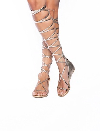 shoes tie up silver knee high gladiator sandals cute sandals