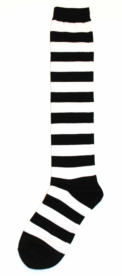 Womens Knee High Sock - Sock it to Me - Black White Stripe
