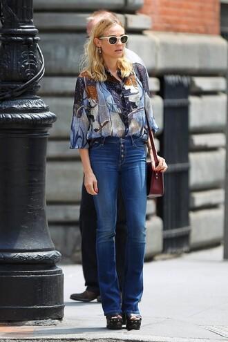 jeans flare jeans diane kruger blouse wedges