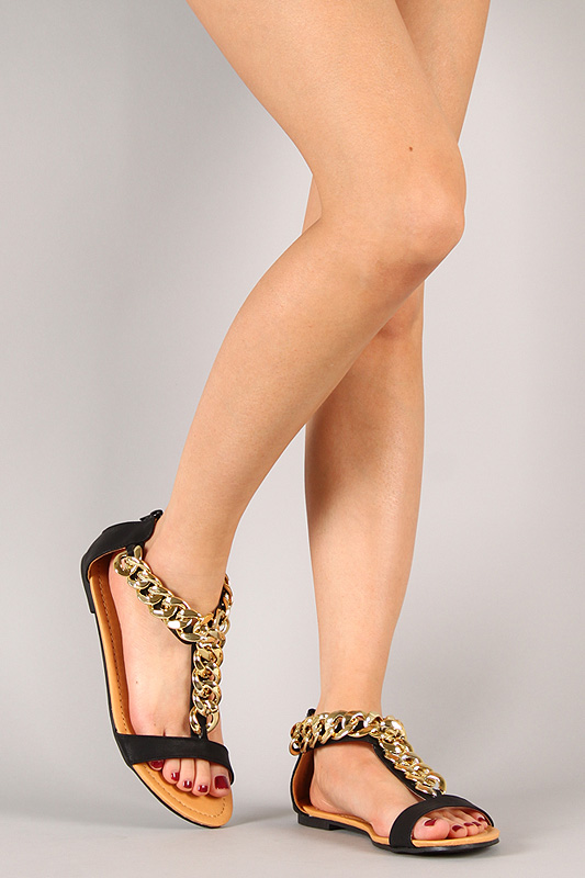 Liliana Aurora-122 Chained Open Toe Flat Sandal