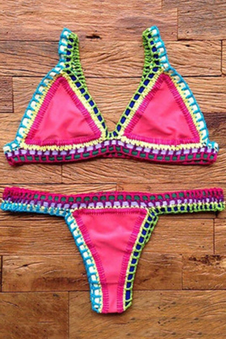 swimwear crochet bikini trendy red beach cute