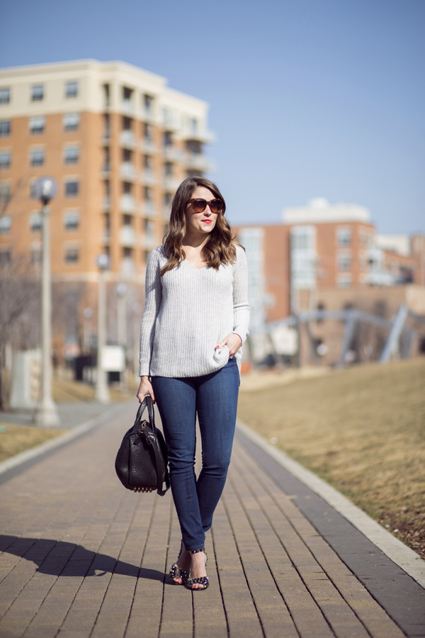 sequins and stripes sweater jeans shoes bag sunglasses
