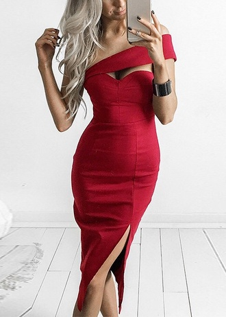 dress bodycon bodycon dress asymmetrical asymmetrical dress midi dress slit dress cute cute dress summer summer dress spring spring dress summer outfits spring outfits classy dress cocktail dress graduation dress date outfit red dress