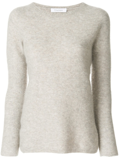 Cruciani top knitted top women spandex fit mohair nude wool