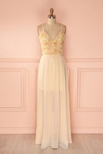 dress prom dress deep v neck dress 3d roses cream chiffon