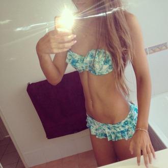 swimwear bikini frilly bikini blue bikini