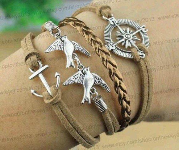 anchor jewels brown leather bracelet swallow anchor bracelet compass silver
